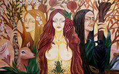 """Maiden, Mother and Crone"", oil colours. © Nataša Ilinčić, do not remove credits Maiden Mother Crone, Triple Goddess, Divine Feminine, Book Of Shadows, Archetypes, Deities, Pagan, Oil On Canvas, Celtic"