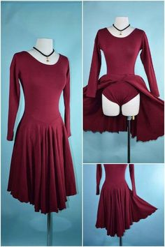 Vintage 70s Burgundy Swing Disco Dirty Dancing Dress + Panties, Full Flare Skirt Fitted Stretch Knit Dancing Party Dress SZ S