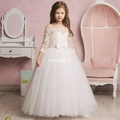 2017 New Flower Girl Dresses Off Shoulder Three Quarter Ball Gown Applique Lace Custom Made Pageant First Holy Communion Gowns Vestido Longo Flower Girl Dresses Cheap Communion Dresses Online with $75.0/Piece on Sweet-life's Store | DHgate.com
