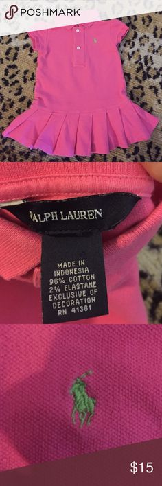 🔹Polo Ralph Lauren Dress Size 12 Months Pink with a green pony! No stains or holes. Polo by Ralph Lauren Dresses Casual