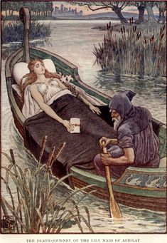 The Death-Journey of the Lily Maid of Astolat by Walter Crane. Illustration for Henry Gilbert, King Arthur's Knights: The Tales Retold for Boys and Girls (Edinburgh and London: T. Walter Crane, King Arthur Legend, Legend Of King, King Arthur's Knights, The Lady Of Shalott, Roi Arthur, Fairy Tales For Kids, English Artists, Illustration Art