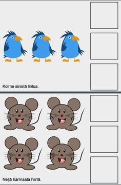 Oppimistarinassa harjoitellaan numeroita 1-10, tunnistetaan eläimiä kuvista ja niiden värejä.  Joka sivulla esiintyy eri värisiä eläimiä. Tarinan lopusta löytyy tulostettavaksi kuvakortit, joissa numerot 1-10, tarinassa esiintyvät eläimet sekä niiden värit.