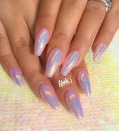 These for Mermaid Migle✨ -Soft pastel pink gelpolish with Mermaid powder - New Ideas Acrylic Nails 2017, Cute Acrylic Nails, Gel Nails, Coffin Nails, Pink Holographic Nails, Purple Nails, Pink Chrome Nails, Soft Pink Nails, Holographic Powder