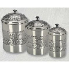 Add an antique look to your kitchen with this embossed steel canister set. The 3-piece pewter storage set includes a 5.5-quart canister, 4-quart canister, and 3-quart canister. The embossed, stainless steel containers are also highly durable.