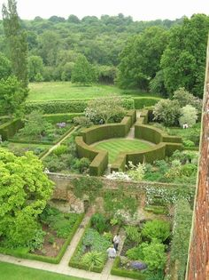 Looking down on the garden at Sissinghurst from the tower.
