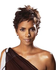 Add sophisticated spunk to cropped hair like Halle Berry's with spiky bits that you can shape with pomade.