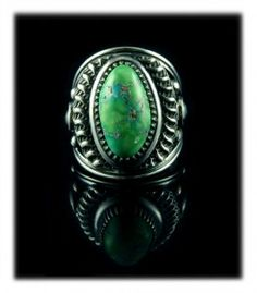 Lime Green Carico Lake Turquoise Ring by Derrick Gordon - Carico Lake Cabochon was cut by John Hartman of Durango Silver
