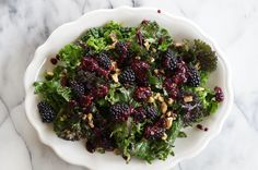 Spring Salad! Kale Salad with Mint, Walnuts, and Blackberries