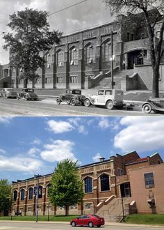 Then and Now at Marquette University: The Marquette Gymnasium in 1936 and today. 1936 photo source: Marquette University Archives