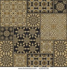 Vector seamless patchwork pattern from black and gold oriental ornaments, round and square rosette, stylized golden flowers, leaves. Geometrical  textile print,  pillow embroidery. Art deco wallpaper.