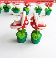 Super Mario Bros Earrings Stud Piranha Plant Yoshi Nintendo Red/Green HandMade Polymer Clay Geek Video Game Gift her Woman Hipster Retro by SpektroDesign Polymer Clay Kunst, Fimo Clay, Polymer Clay Projects, Polymer Clay Charms, Handmade Polymer Clay, Polymer Clay Earrings, Clay Crafts, Diy And Crafts, Polymer Clay Sweets