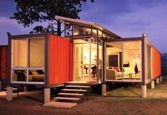 Build this beautiful shipping container house for only $40K | Grist-I think this is my favorite one of the shipping container homes- I'll take mine with a shipping container pool!