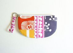 Zipper Pouch with Keyring, Patchwork, Coin Purse, Change Pouch, Makeup Bag, Women and Teens, Gift For Her