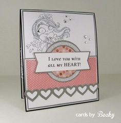 KraftinKimmie Kraftin' Kimmie Stamp Hannah Hearts Moonlight Whispers Happy Valentine's Day (Card Inside)