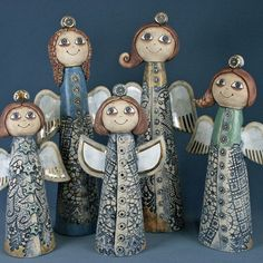 Christmas Decorations, Christmas Ornaments, Holiday Decor, Clay Projects For Kids, Clay Angel, Pottery Angels, Angel Crafts, Clay Creations, Clay Crafts