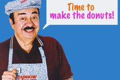 """12 Facts About the """"Time to Make the Donuts"""" Guy - 13 Things You Might Not Know About Dunkin' Donuts' """"Time to Make the Donuts"""" Guy Vintage Advertisements, Vintage Ads, Donut Crazy, Intj Humor, Monday Humor Quotes, Offensive Humor, Old Commercials, 80s Kids, Oldies But Goodies"""
