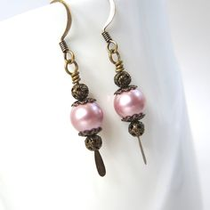 Pink pearl earrings gold filigree earrings pink by JRSnodgrass  For 10% discount in Etsy store, use Coupon Code PIN10 at checkout.