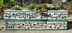 mosiac cider block | Hand Made Mosaic cinder block planter