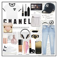 """""""Bez naslova #30"""" by barbtolo ❤ liked on Polyvore featuring MANGO, adidas Originals, '47 Brand, Aéropostale, Maybelline, Gucci, BaubleBar, MICHAEL Michael Kors, Marc Jacobs and Christian Louboutin"""