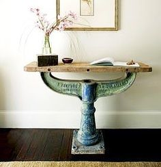 Industrial Chic Canalside Interiors' Wrench Hall Table with distressed Aqua base and live edge top is a poster child for opposites. It's a statement piece but still subtle it's hard in form but has a serene vibe it's heavy but light it's industrial but still beautiful... In Stock Now. OPEN 7 DAYS   38 Burrows Rd Alexandria www.canalside.com.au Image via Pinterest #furniture #industrial #canalsideint #canalsideinteriors #Sydney #Alexandria @canalsideint