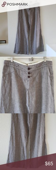 Free People palazzo pants New bell bottom striped,31 in.inseam Free People Pants Wide Leg