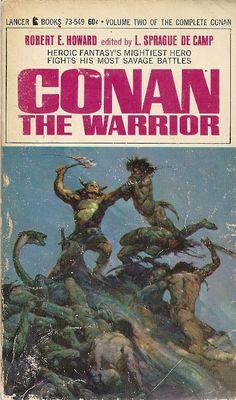 "Conan the Warrior"" published 1967 - Frank Frazetta cover art Fantasy Book Covers, Fantasy Books, Fantasy Art, Dark Fantasy, Science Fiction Books, Pulp Fiction, Fiction Novels, Frank Frazetta Conan, Conan The Conqueror"