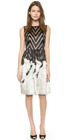 Lela Rose Fringed Skirt Dress | SHOPBOP