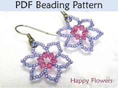 Beaded Flower Earrings Beading Pattern Tutorial Simple Bead Patterns