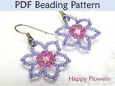 Beaded Flower Earrings Beading Pattern Tutorial Simple Bead Patterns