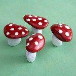 painted rock toadstools mushrooms
