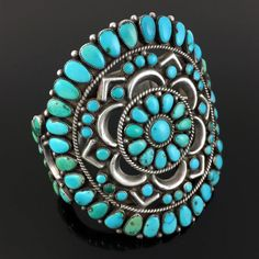 LARGE NATIVE AMERICAN ZUNI HANDMADE STERLING SILVER & BLUE GEM TURQUOISE. Zuni traditional cluster technique, silver and natural Blue Gem turquoise, 84 hand shaped round and petit point stones set in serrated bezels. | eBay!