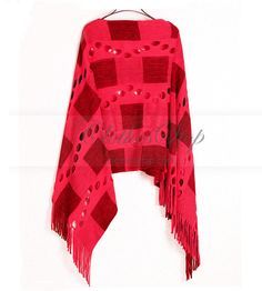 Red Knit Shawl with Tassels – Clothesstop.com