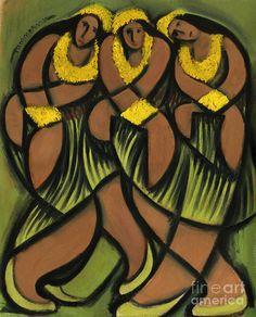 hawaiian hula girl art prints by Tommervik Hawaii Painting, Painting Of Girl, Hawaiian Quilt Patterns, Hawaiian Quilts, Polynesian Art, Vintage Tiki, Hawaiian Art, Indigenous Art, Beauty Art