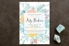 """Among the Flowers"" - Floral & Botanical, Hand Drawn Bridal Shower Invitations in Tiffany by Qing Ji."