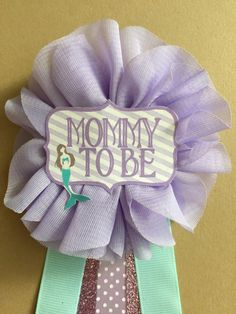 Purple Baby mermaid Baby Shower Mommy-to-be Flower Ribbon Pin Corsage Glitter Rhinestone Mommy mama mom to be under the sea baby shower
