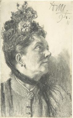 The Athenaeum - Woman with a Crushed Velvet Hat (Adolph von Menzel - 1894 - Drawing - graphite)