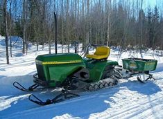 Just A Car Guy: Crazy cool John Deere riding mower snow mobile. it all started with a rider, and a real JD snowmobile, and then, it got tricky Small Tractors, Old Tractors, Lawn Tractors, Antique Tractors, Vintage Tractors, John Deere Equipment, Heavy Equipment, Triumph Motorcycles, Ducati