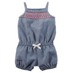 Carters Baby Girls Embroidered Chambray Romper