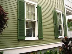 Exterior Paint Colors - You want a fresh new look for exterior of your home? Get inspired for your next exterior painting project with our color gallery. All About Best Home Exterior Paint Color Ideas Exterior House Colors Combinations, House Exterior Color Schemes, Exterior Paint Colors For House, Paint Colors For Home, Exterior Colors, Paint Colours, Green Exterior Paints, Best Exterior Paint, Green Shutters