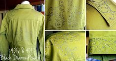 super pretty example of using an iron on rhinestone transfer in creative ways. Just peel stick and iron on!