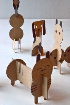 DIY cardboard animals for children - Diy Cardboard Toys Cardboard Animals, Cardboard Toys, Paper Toys, Cardboard Playhouse, Cardboard Furniture, Cardboard Crafts Kids, Cardboard Castle, Paper Animals, Paper Clay