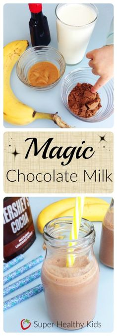 Try this healthy homemade chocolate milk recipe instead of the sugary store bought stuff! A good source of calcium with no added sugars and 7 grams of protein per cup.