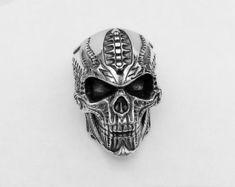 Biomechanics style Skull heavy ring Solid 925 Sterling Silver men biker  jewelry big angry Кольца С 92c7eb472c45e