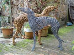 Willow and steel wire. Garden Or Yard / Outside and Outdoor sculpture by sculptor Emma Walker titled: 'life size PAIR of WHIPPET DOGS (Willow and Steel statue)' - Artwork View 2