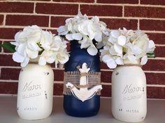 Anchor mason jar vases