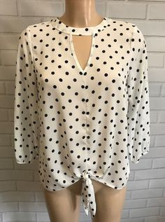 78f56c67c6de5 White Navy Polka Dot Keyhole Tie Feature Front Top Blouse Size 18 Euro 46   fashion