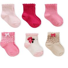 Just One You™Made by Carter's® Baby Girls' 6 Pack Computer Socks - Pink/White/Gold 3-12M : Target