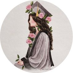 Cute Wallpaper Backgrounds, Cartoon Wallpaper, Cute Wallpapers, Graduation Drawing, Graduation Wallpaper, Graduation Images, Graduation Photoshoot, Graduation Photography, Girls With Flowers