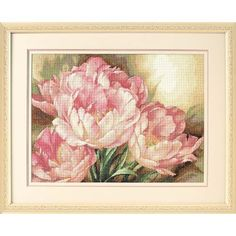 """The lavish arrangement in our Tulip Trio counted cross stitch design will bring the glory of spring into your home all year-round. The soft spring palette and delicate stitching adds to the elegant feel of the piece. Kit contains presorted cotton thread, 14 count ivory cotton Aida, needle, and easy instructions. A Gold Collection design. Finished Size: 16"""" x 12"""" (41 x 30 cm). Designed by: Igor Levashov. © Igor Levashov."""