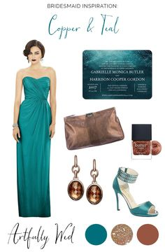 Copper and Teal Bridesmaid Style